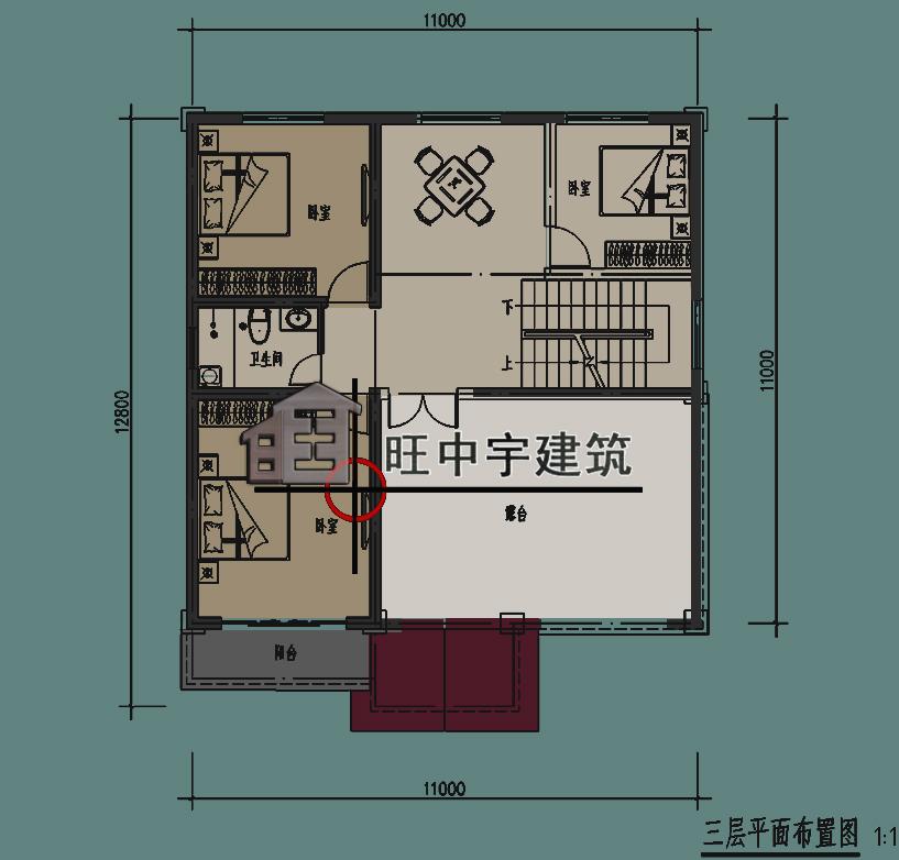 农村小别墅三层平面图