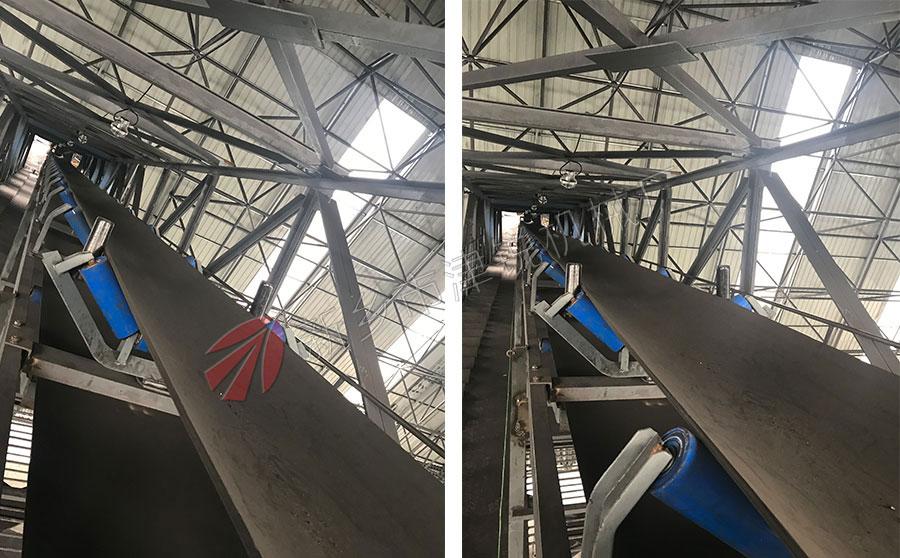 山西客户煤矿现场100米长TD75带式输送机图片