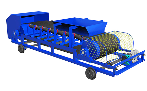 可逆配仓带式输送机示意图,也称作为可逆配仓带式输送机