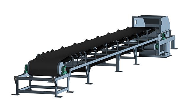 固定式皮带输送机简单示意图,津锐机械厂生产的皮带输送机一般长度在4-150米之间的范围;宽度在500-1400mm之间的范围。