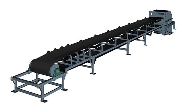 TD75型皮带输送机示意图,由驱动装置、托辊、输送带等部件组成