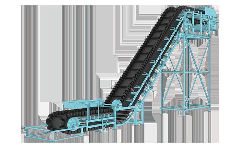 大倾角皮带输送机也叫做波纹挡边输送机、爬坡皮带输送机等