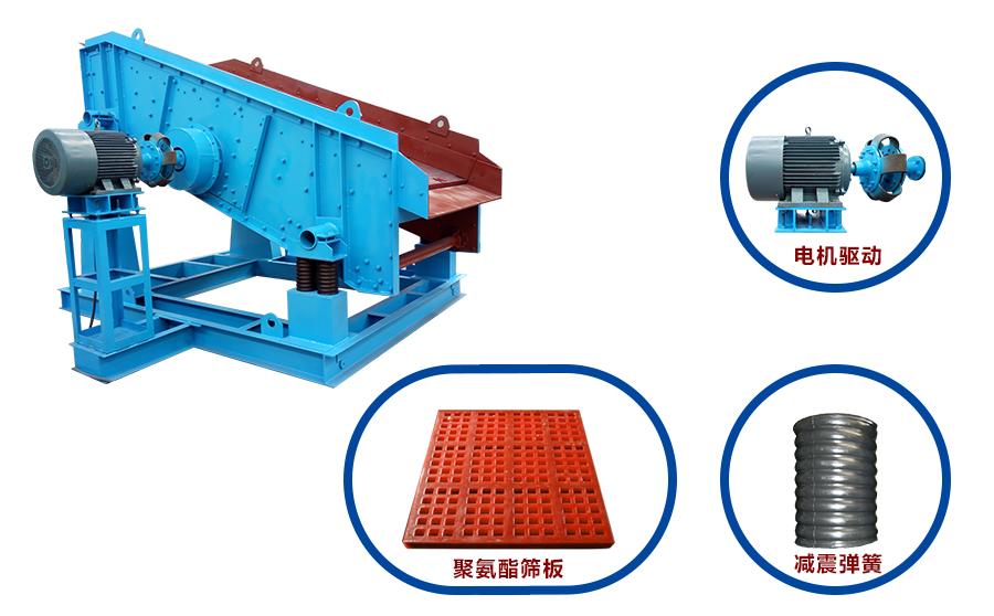 振动筛几个比较耗损的部件式:电机、筛板(筛网)、橡胶弹簧(减震弹簧)