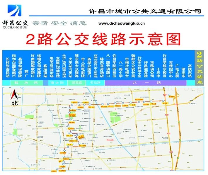 许昌2路公交车线路图