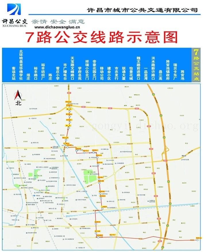 许昌7路公交车线路图