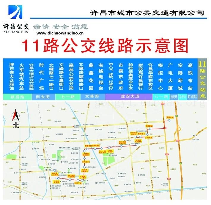 许昌11路公交车线路图