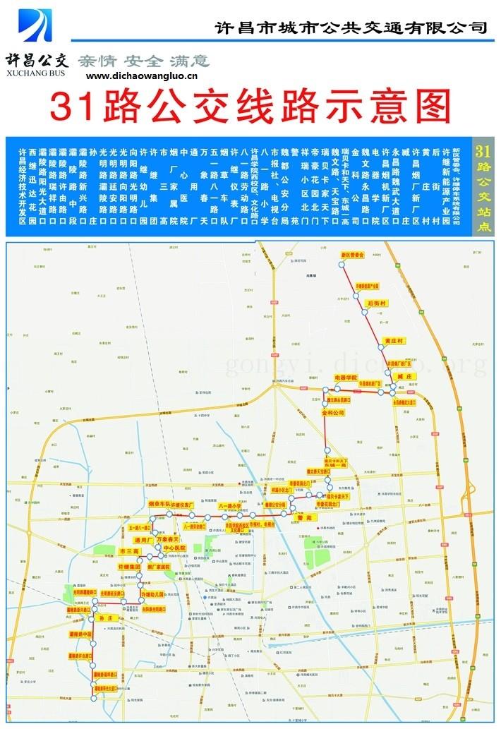许昌31路公交车线路图