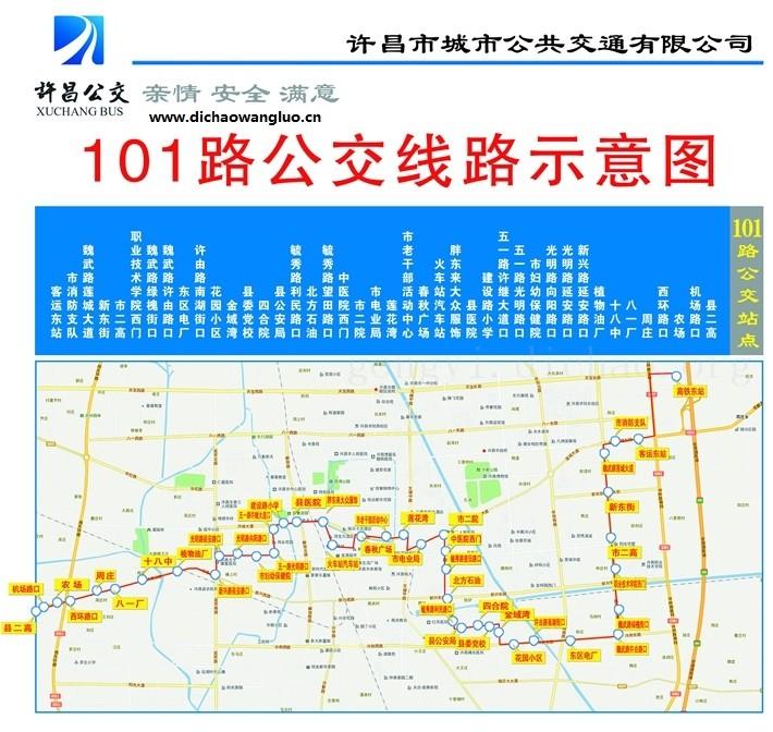 许昌101路公交车线路图
