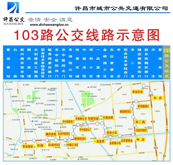 许昌103路公交车线路图