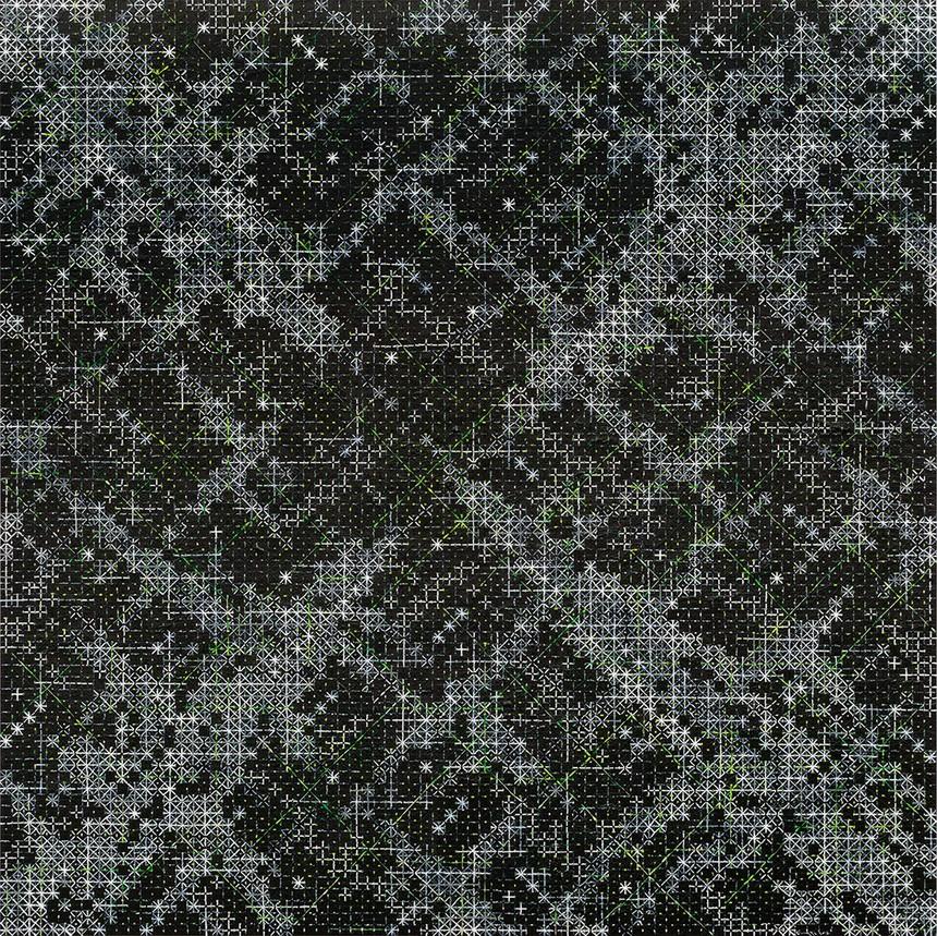 丁乙 十示 2016-5 2016 椴木板上综合媒介 240 x 240 cm 由泰勒画廊提供 丁乙工作室摄影.jpg