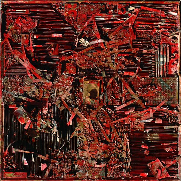 2 胡志颖  红,1991,板上综合媒介,150×150cm  HU ZHIYING  Red, 1991 Mixed media on plank, 150×150 cm.jpg