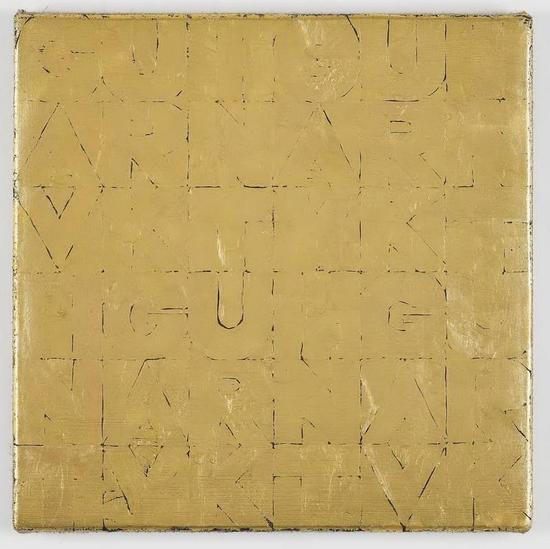 加文?特克(Gavin Turk),Small Gold SenzaTitolo,2012。画布上隐约可见的字母正是画家本人的名字。