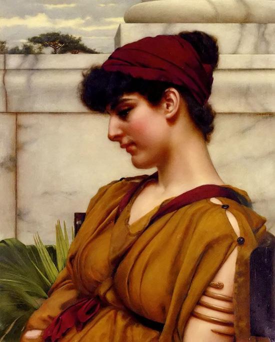 侧面的古典美女