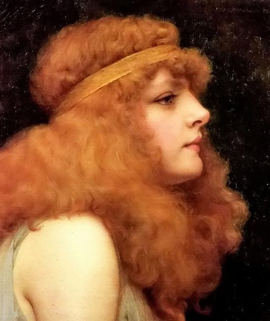 红褐色头发的美女