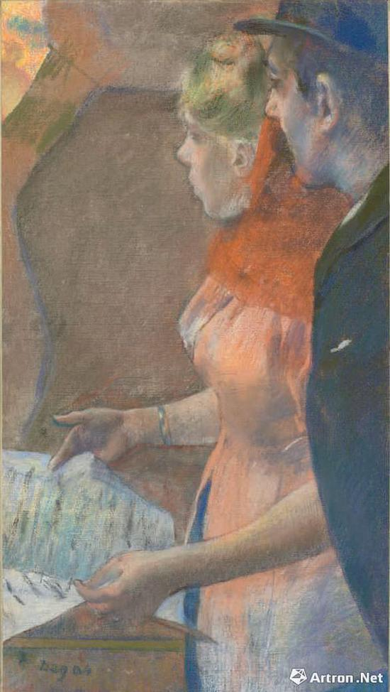 埃德加·德加创作于1882-1885年间的《幕后》描绘男女间暧昧关系 佳士得伦敦2018年2月28日 899.375万英镑成交