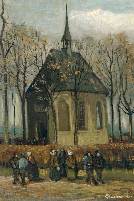 文森特·梵高 离开尼厄嫩教堂 41.5×32.2cm 帆布油画 1884-1885年