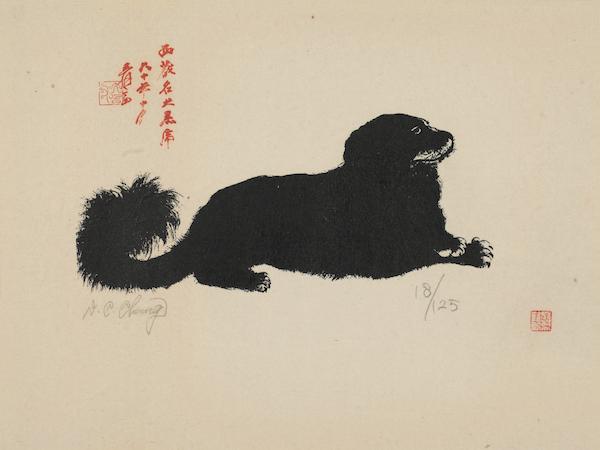 张大千,小黑虎,丝网版画,18/125,50cm×61cm.jpg
