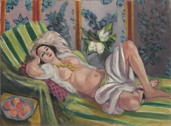 亨利·马蒂斯《侧卧的宫娥与玉兰花》