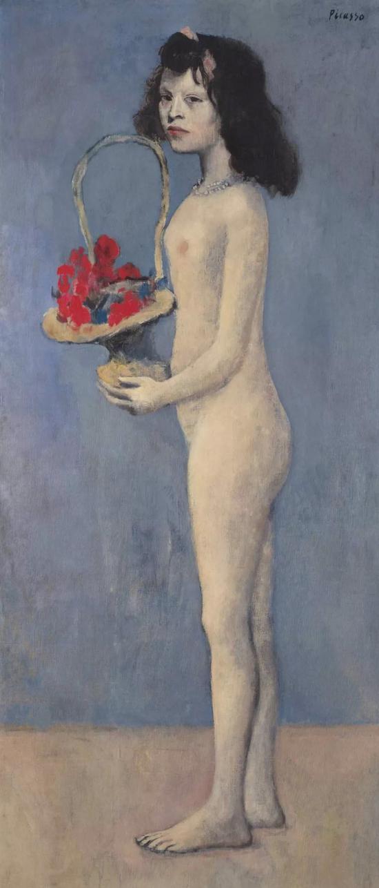 巴布罗·毕加索 《拿着花篮的女孩》 1905年作 154.8 x 66.1 公分