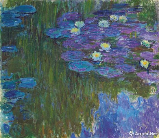 克劳德·莫奈《绽放的睡莲》160.9 x 180.8 公分   约1914至1917年作