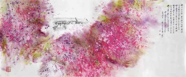 安云霁(特邀) 《海棠依旧》 中国画 纸本 95×225cm 2018.jpg