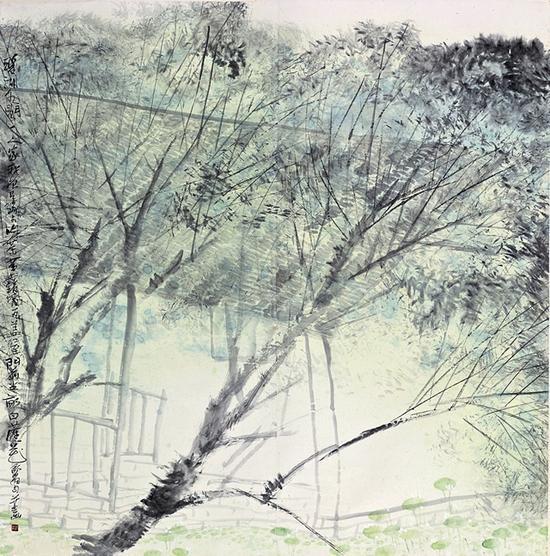 尹舒拉 《碧湖水阁一人家》 纸本水墨 138×138cm 1999年