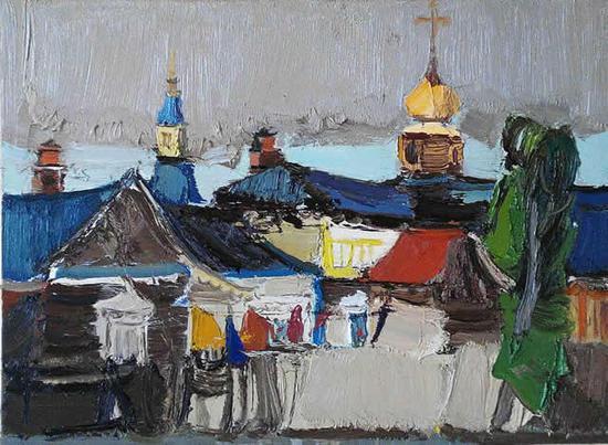 李学峰 《哈乌尔河边的基督教堂之五》 布面油画 80×60cm 2014 年