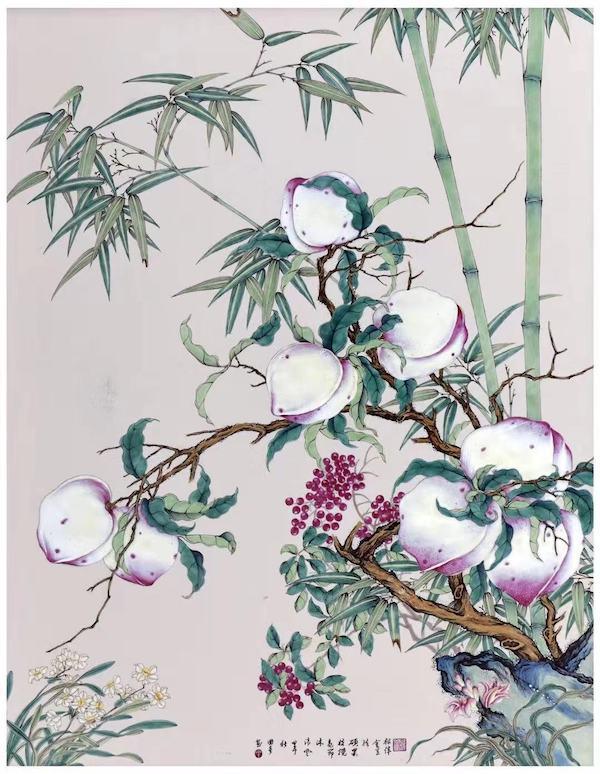 瓷胎画珐琅八桃瓷板.jpg