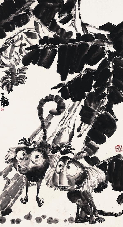 卡通水墨花鸟系列之六  244cm×100cm  纸本水墨  2012年.jpg