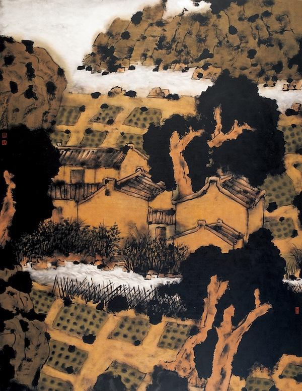 阳光下的村庄  185cm×145cm  纸本设色  2004年.jpg