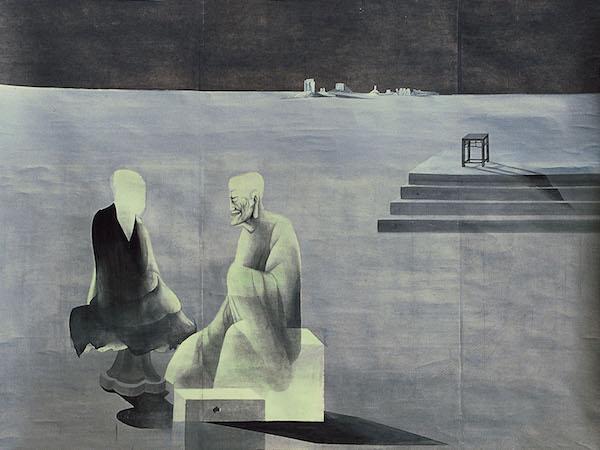 沈勤Shen Qin 《师徒对话》Talks Between Master and Disciple 124x151.5cm 纸本设色 Ink and Colour on paper 1985.jpg