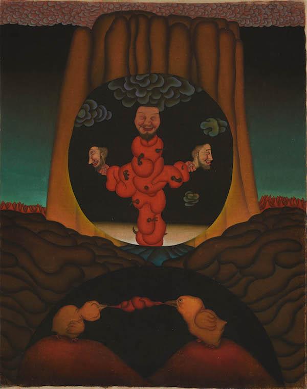 李津 《光环组画之二》  水墨、布面设色   100×65cm   1993年.jpg