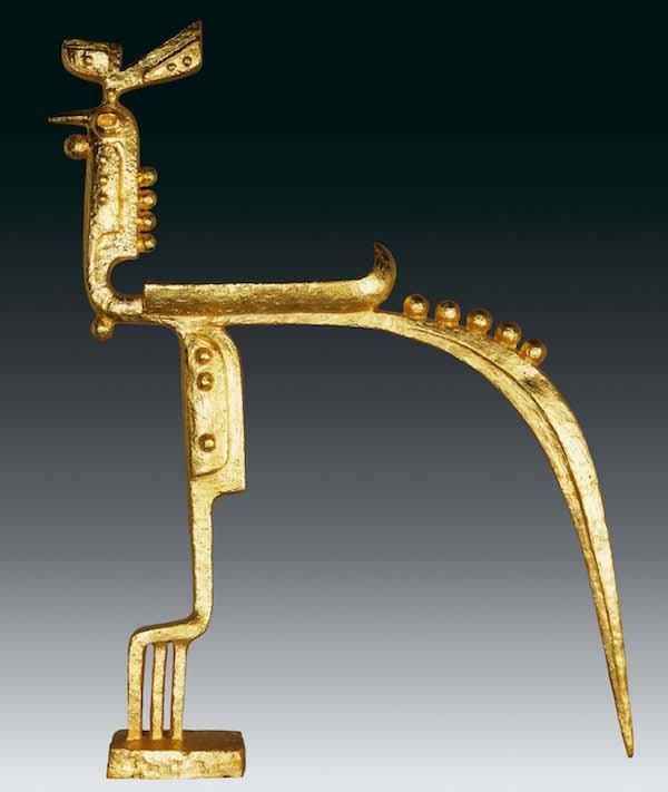 雕塑:《金鸡》,136x22x102cm,青铜贴金,2001年.jpg