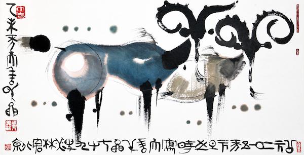 绘画:《羊》,128x68cm,宣纸,2010年.jpg