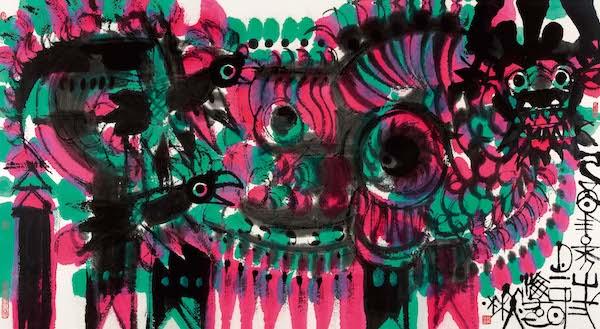 绘画:《牛》,168x89cm,宣纸,2005年.jpg