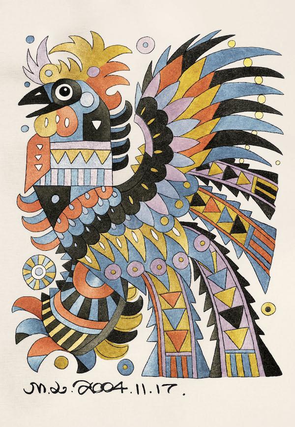民间工艺:《鸡》,118x81cm,刺绣,2005年.jpg
