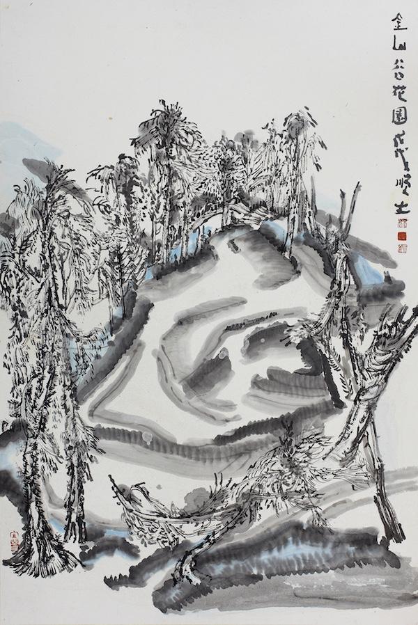 6 林顺文  金山谷花园 60×40cm 纸本矿物颜料  2018年.jpg
