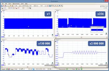 deep memory oscilloscope showing zoom