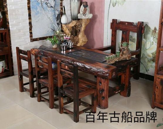 百年古船老船木新中式茶楼茶室装修效果图