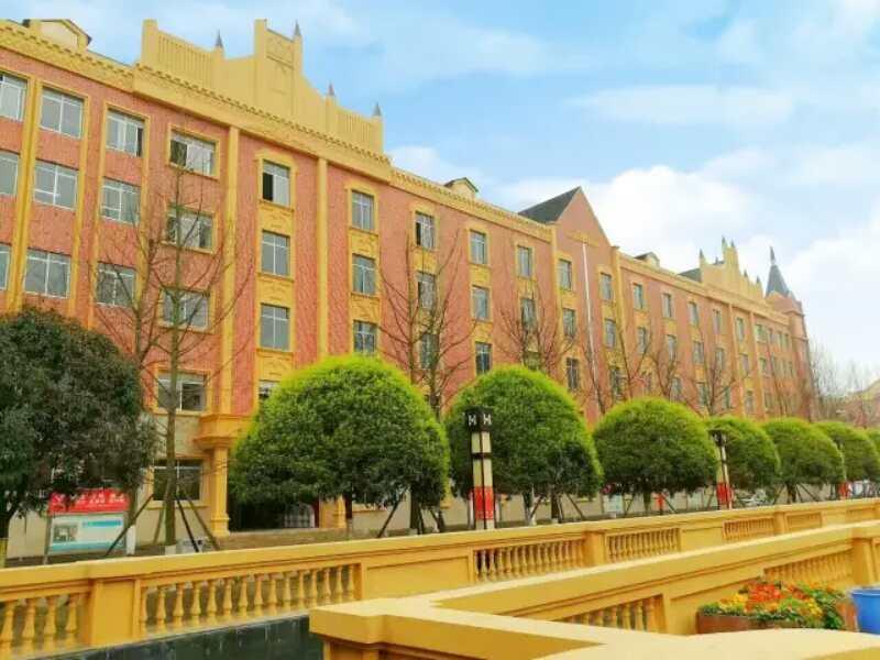 四川希望卫校欧式风格的教学楼