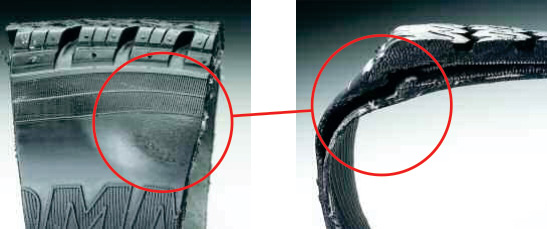 Sidewall Bubble - A bulge that appears on the outside of a tyre is usually a sign of separation