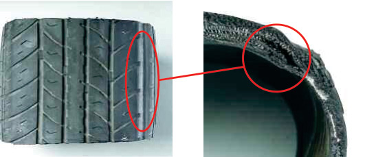 Shoulder Separation - A groove worn in the shoulder of the tyre is usually evidence of separation