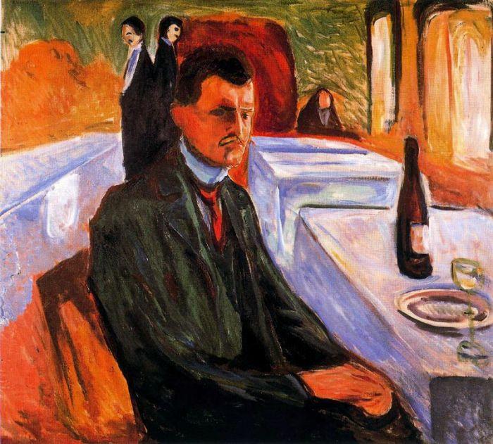 爱德华·蒙克 《有酒瓶的自画像》