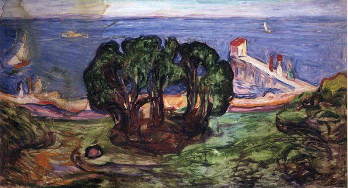 爱德华·蒙克《 岸上的树》