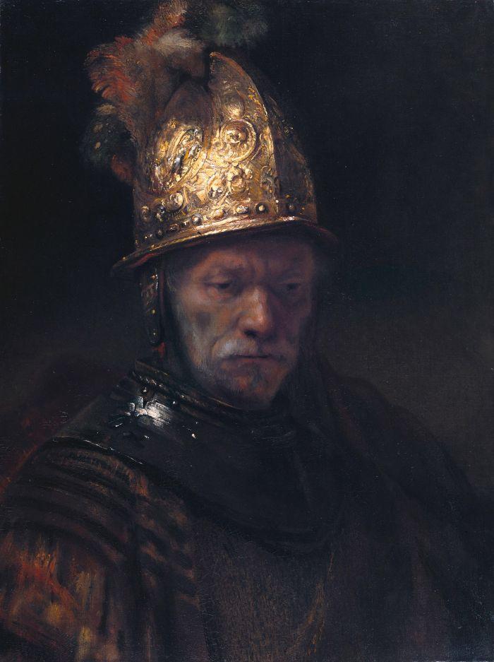 伦勃朗《戴金盔的男子》
