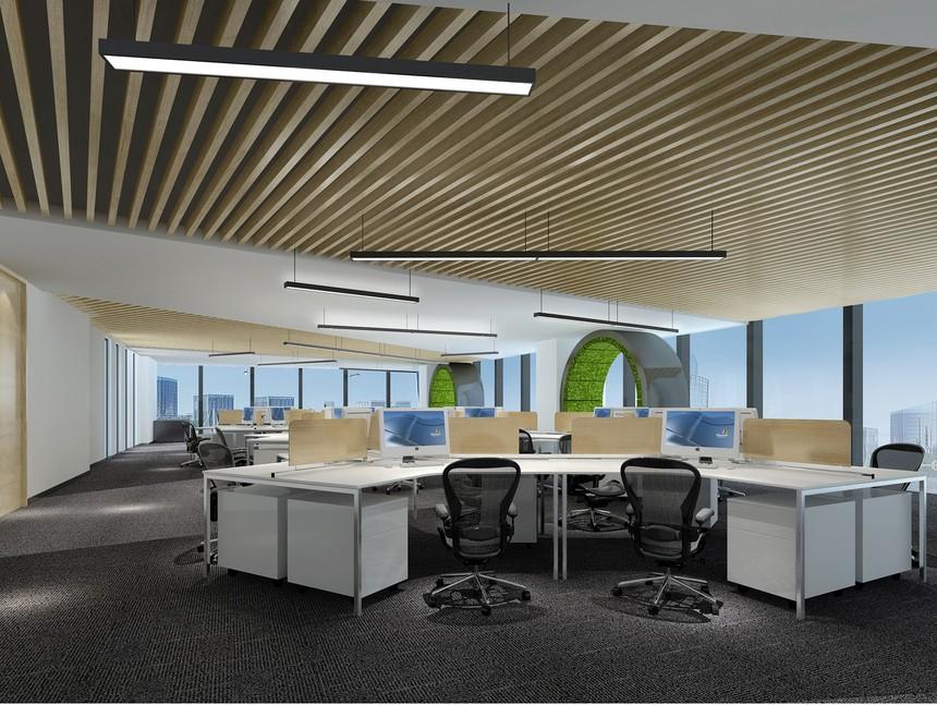 铝方通间距吊顶装饰控制效果图