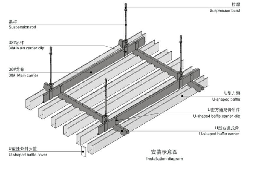 铝方通吊顶安装系统