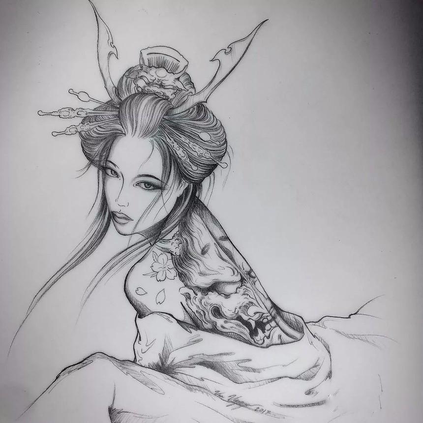 纹身手稿分享——艺伎