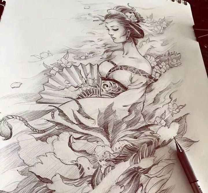 纹身手稿分享——艺伎(2)图片