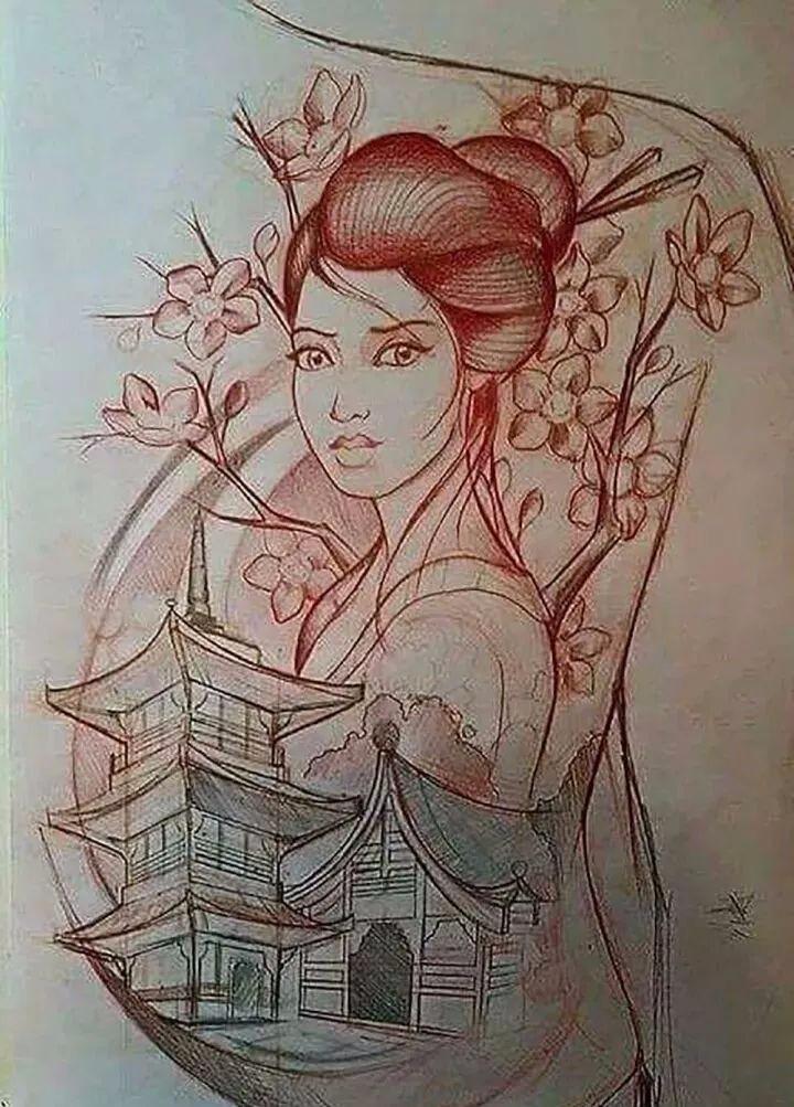 纹身手稿分享——艺伎(2)